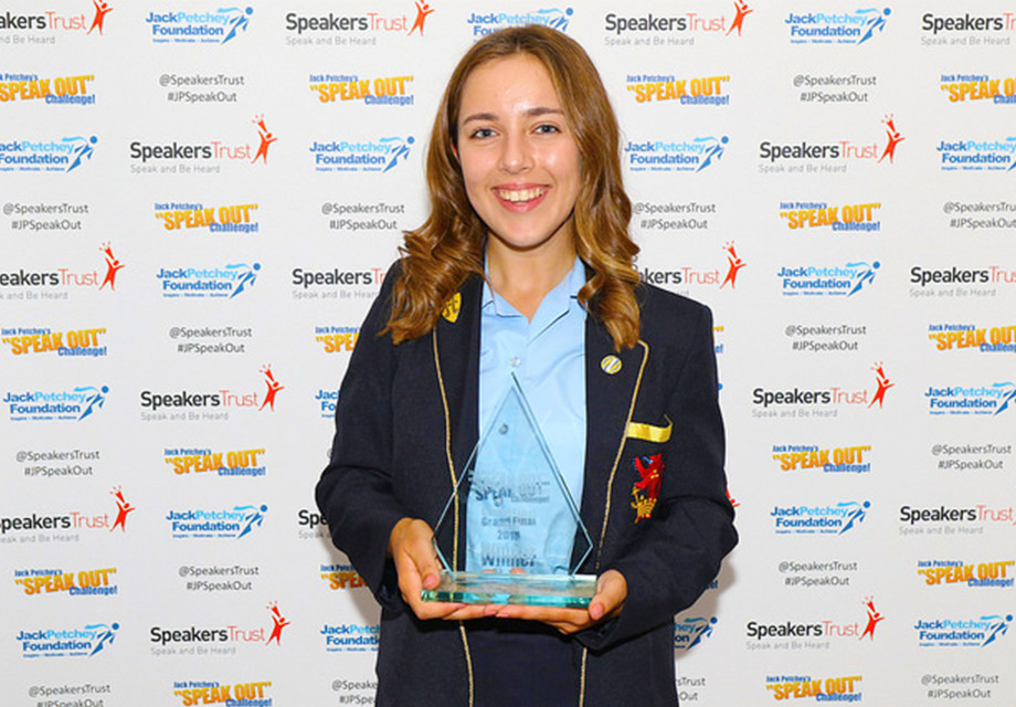 Erin overcame her stutter to win this year's Speak Out Challenge!